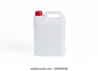 White plastic jerrycan on white background.