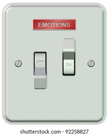 A white plastic light switch turned on and off with a sticker spelling emotions / Emotions on and off