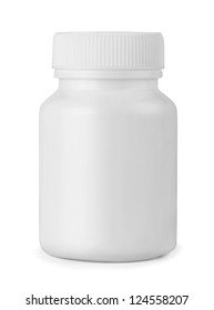 White plastic medicine bottle isolated on white