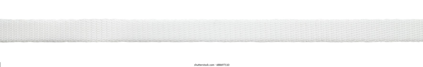 White plastic packaging straps isolated on white background