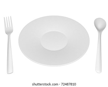 White plastic plate, knife and spoon - isolated