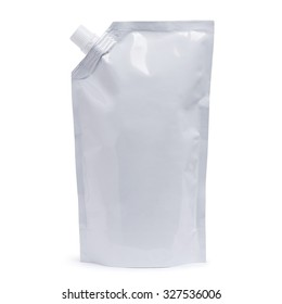 White plastic pouch stand up bag, doy-pack with a corner batcher lid. Isolated on a white background.