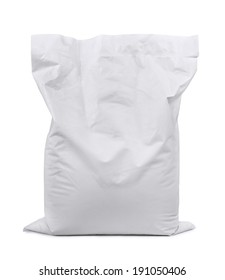 White plastic sack isolated on white