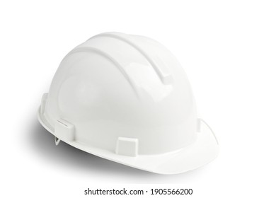 White plastic safety helmet isolated on white background with shadow