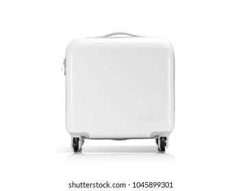 White plastic suitcase or luggage for traveler isolated on white background with clipping path