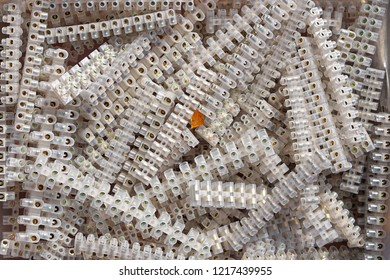 White plastic terminal connectors with screws