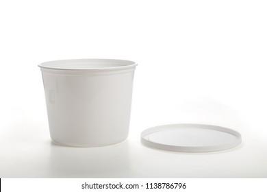 White Plastic Tub Bucket Container close up