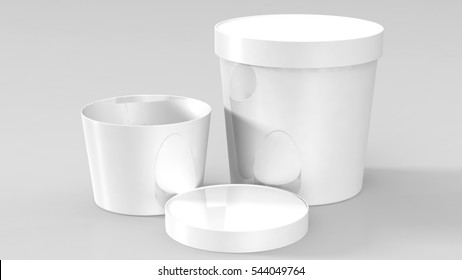 White Plastic Tub Food Bucket Container For Dessert, Yogurt, Ice Cream, Sour Cream Or Snack. Ready For Your Design. Product Packing Vector