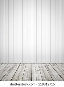 White plastic wall with wooden floor background