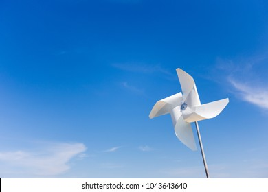White plastic windmill (pinwheel) for decoration