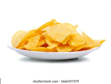 White plate of crisps snack