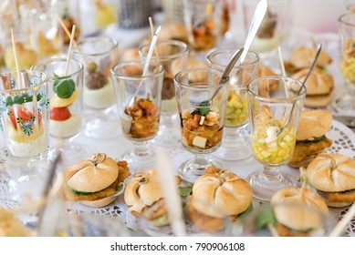 White plate with delicious various appetizers