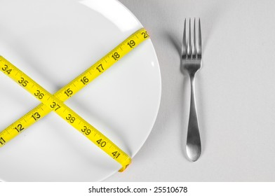 White Plate and Diet with nutrition and hunger
