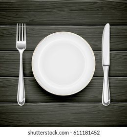 White plate with fork and knife on black wooden background, illustration.