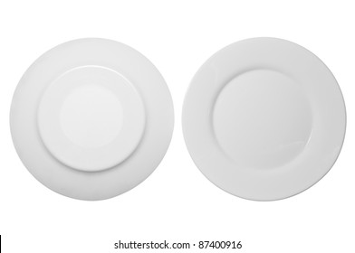 White plate in front and bottom isolated on white background