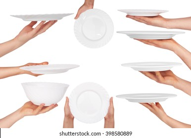 white plate in hand isolated on white background