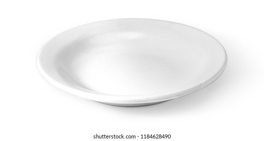 white plate isolated on white background with clipping path