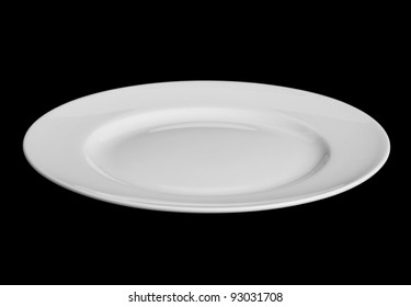 White plate isolated on black