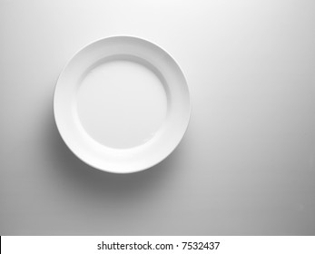 white plate on a white surface