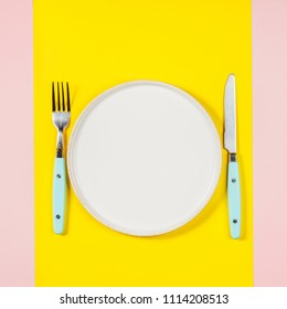 White plate on two color background