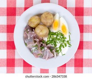 White plate with pickled herring, new potatoes,  sour cream,  chopped chives and egg on a red checkered cloth. A typical swedish midsummer meal depicted from above.
