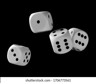 White playing, gambling die, dice for tabletop games and poker isolated on black background with clipping path
