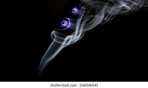 White plume of smoke with purple highighted swirls on a black background