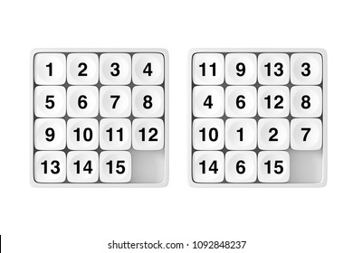 White Pocket Sliding Fifteen Rebus Puzzle Game on a white background. 3d Rendering