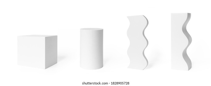 White podium mockups cylinder and cube shape, wavy abstract decor elements isolated on white background. Set pedestal, stage or platform for product presentation or display photo