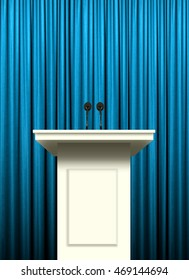 white podium over blue curtain background