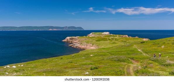 WHITE POINT, CAPE BRETON, NOVA SCOTIA, CANADA - JULY 20, 2018: Landscape of coast and Atlantic Ocean.