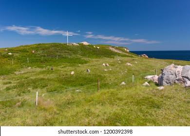 WHITE POINT, CAPE BRETON, NOVA SCOTIA, CANADA - JULY 20, 2018: White Point Cemetery on coast.