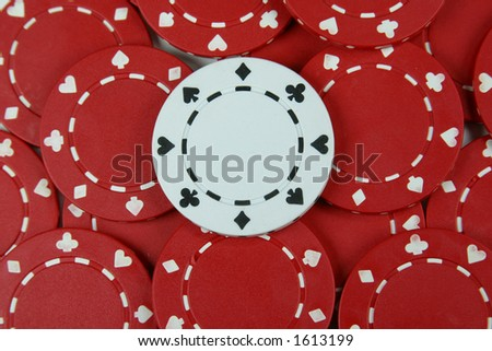 White Poker Chip Amid Red Chips Stock Photo (Edit Now) 1613199