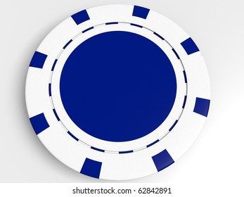 white poker chip isolated on the white