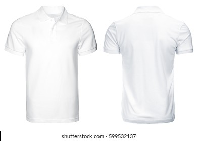 white Polo shirt, clothes on isolated white background.