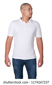 White polo t-shirt mock up, front view. Male model wear plain white shirt mockup. Polo shirt design template. Blank tees for print