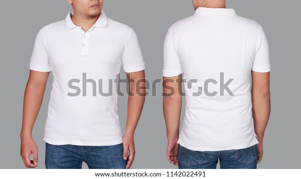 White Polo Tshirt Mock Front Back Stock Photo Edit Now 1142022491