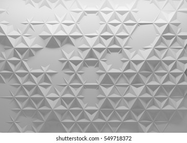 White polygonal triangle geometric texture. 3D rendering background.