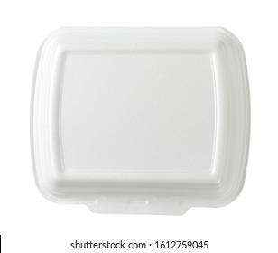 white polystyrene fast food box on white background