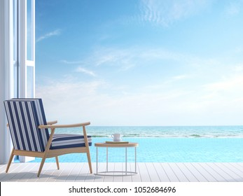 White pool villa terrace 3d render.There white wooden floor. Furnished with white and blue chair There are large open doors overlooks to borderless swimming pool and sea view.