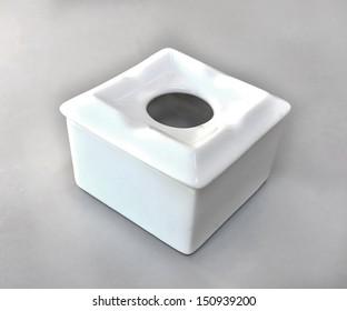 White Porcelain Ashtray over white background