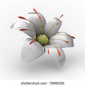 White porcelain flower with reflection