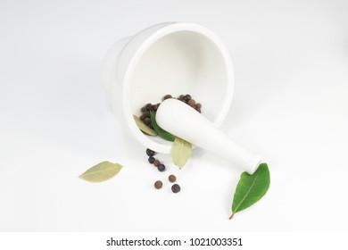 white porcelain mortar  on white background