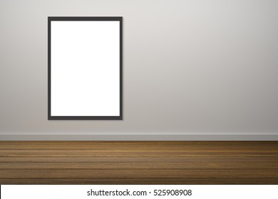 white poster and black frame of picture hanging in empty room.space for your text and picture.product display template.Business presentation.white wall and wooden floor.clipping path include.
