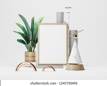 White poster and geometric figures. 3D rendering