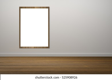 white poster and wooden frame of picture hanging in empty room.space for your text and picture.product display template.Business presentation.white wall and wooden floor.clipping path include.
