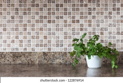 White pot with green herbs on kitchen countertop.