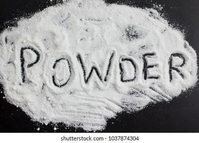 White powder black background cocaine