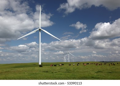White power generating wind turbines, windmills against dramatic clouds, blue sky, cattle on agricultural green pastures