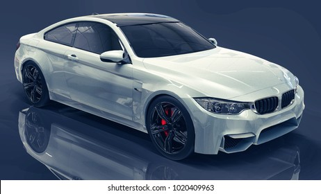 White Premium BMW Car. Three Dimensional Illustration On A Dark Blue  Background. 3d